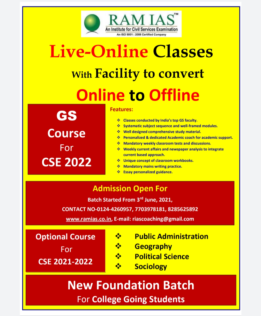 NEW BATCH FOR UPSC 2022 FROM 3 JUNE 2021